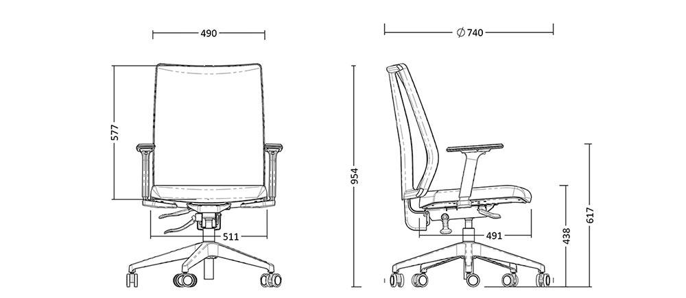 Dimensão da Cadeira Frisokar Diretor Addit