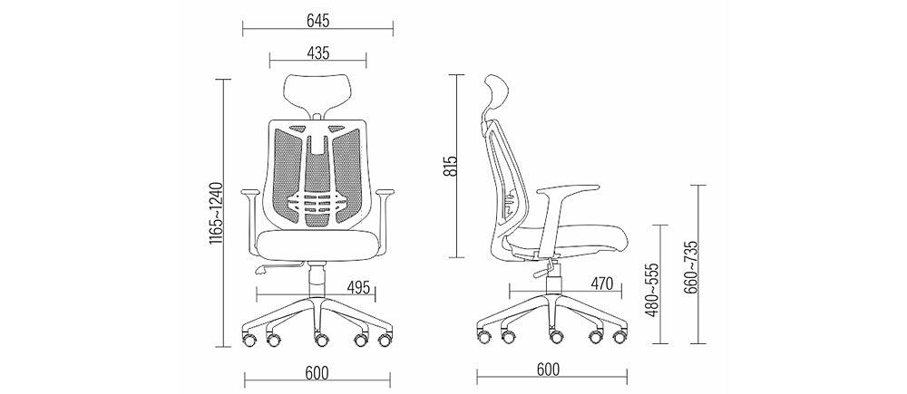 Dimensão da Cadeira Frisokar Aika Presidente