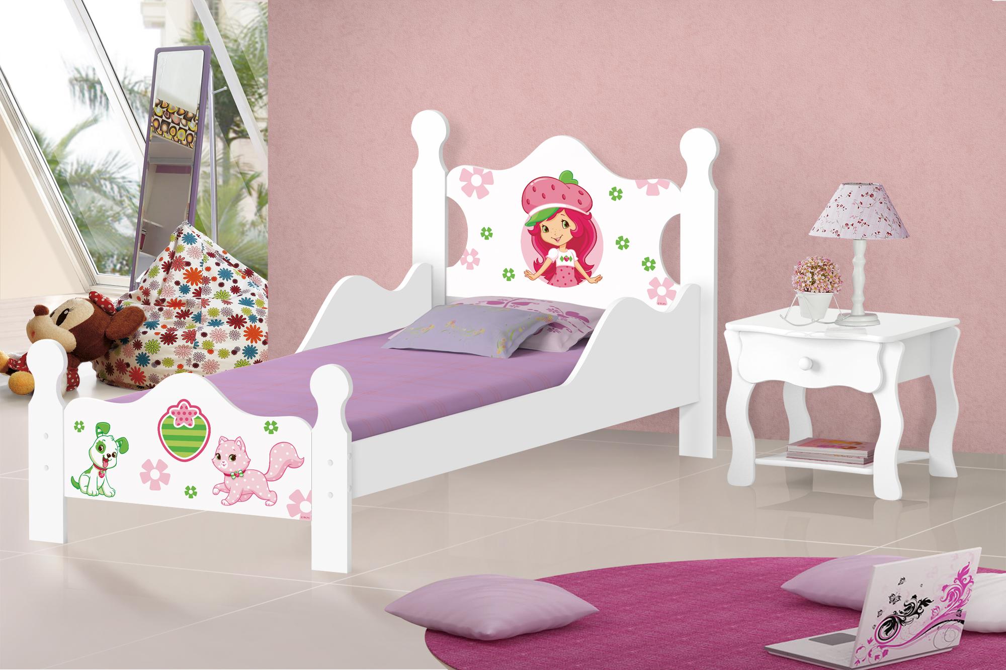cama infantil branca feminina moranguinho com graded