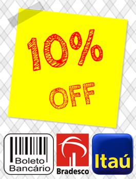 10% Off | Boleto ou Depósito