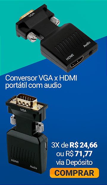 Conversor VGA x HDMI portátil com audio