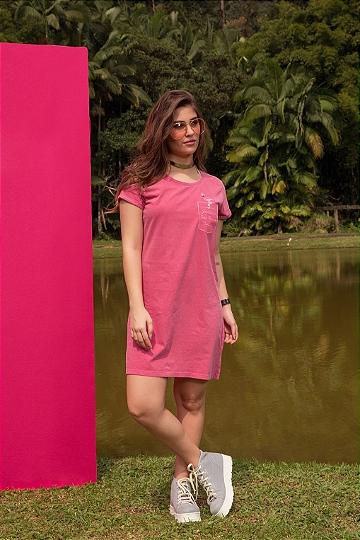Vestido Feminino Bordado Bolso Flamingo