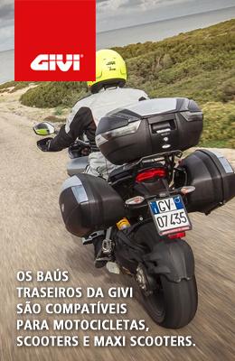 Os baús traseiros da Givi são compatíveis para motocicletas, scooters e maxi scooters.