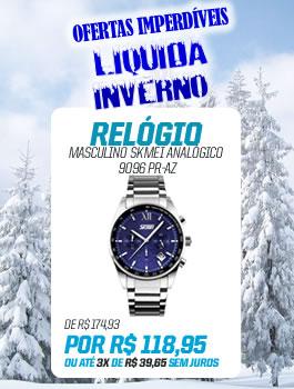 Banner Lateral (LiquidaInverno) RELÓGIO MASCULINO SKMEI ANALÓGICO 9096 PR-AZ