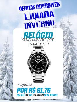 Banner Lateral (LiquidaInverno) RELÓGIO SKMEI ANALÓGICO 0992 PRATA E PRETO