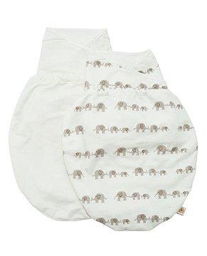 Swaddler - Cueiro Inteligente Ergobaby - Embalagem com 2 unidades nas cores: Elephant e Natural (P/M)