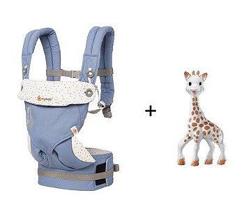COMBO: Canguru Ergobaby - Modelo 360: Edição Sophie La Girafe + Mordedor Sophie La Girafe