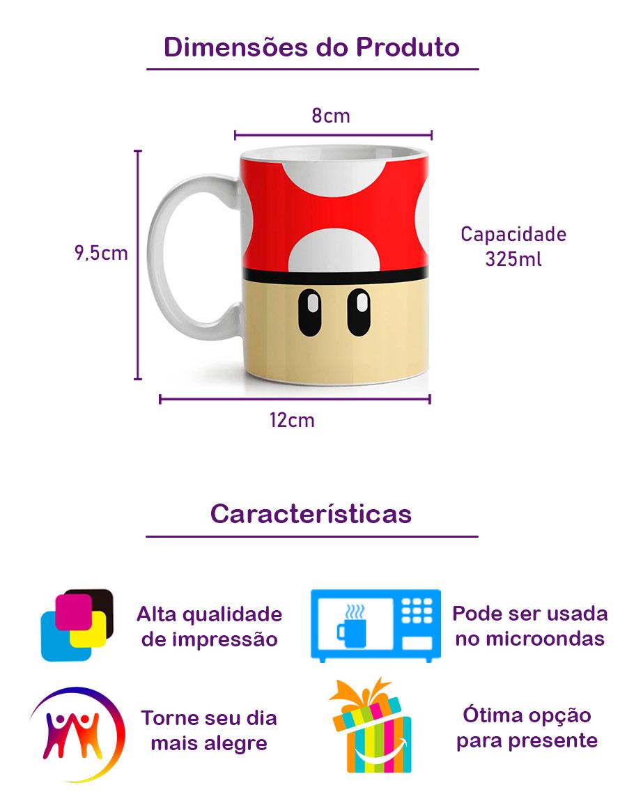 Caneca Cogumelo Vermelho Mario