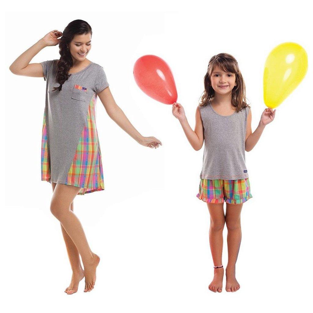 8129e40bf5bbcd Pijama Tal Mãe Tal Filha Infantil Curto Color Verão Xadrez ...