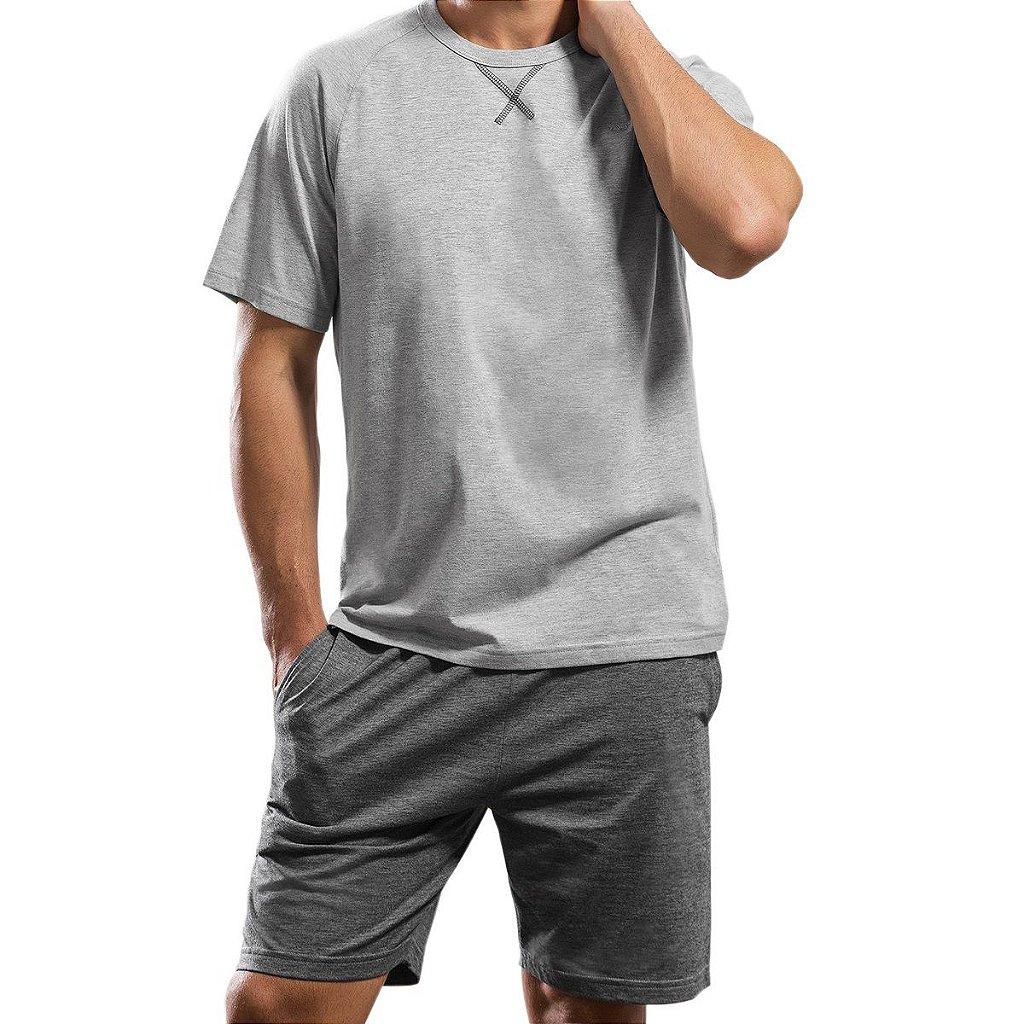 436ab2371 ... Pijama Curto Masculino em Algodão - Imagem 2