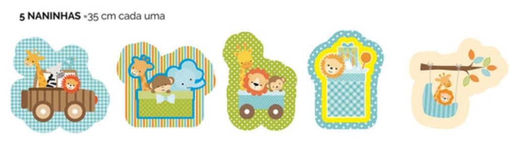 Feltro Estampado Naninhas Animais Arca E Trem Coleção Jungle Baby