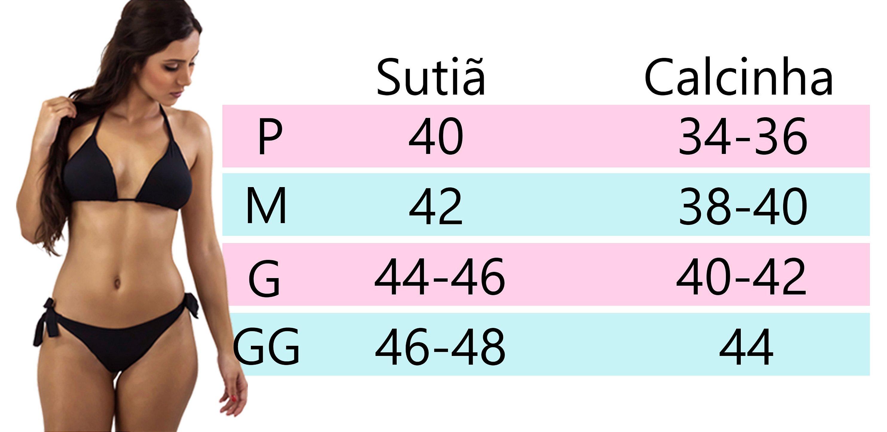 7416fa8af ATENÇÃO: caso sua numeração esteja dentro de dois tamanhos, escolha de  acordo com a preferência pelo tamanho da marquinha de biquíni.