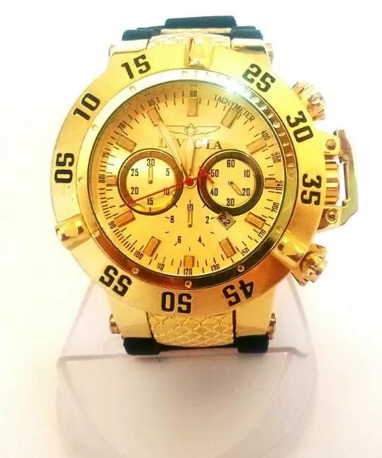 7a954d8f0f8 Relógio Masculino invicta Dourado Multi Funcional Pesado Grande