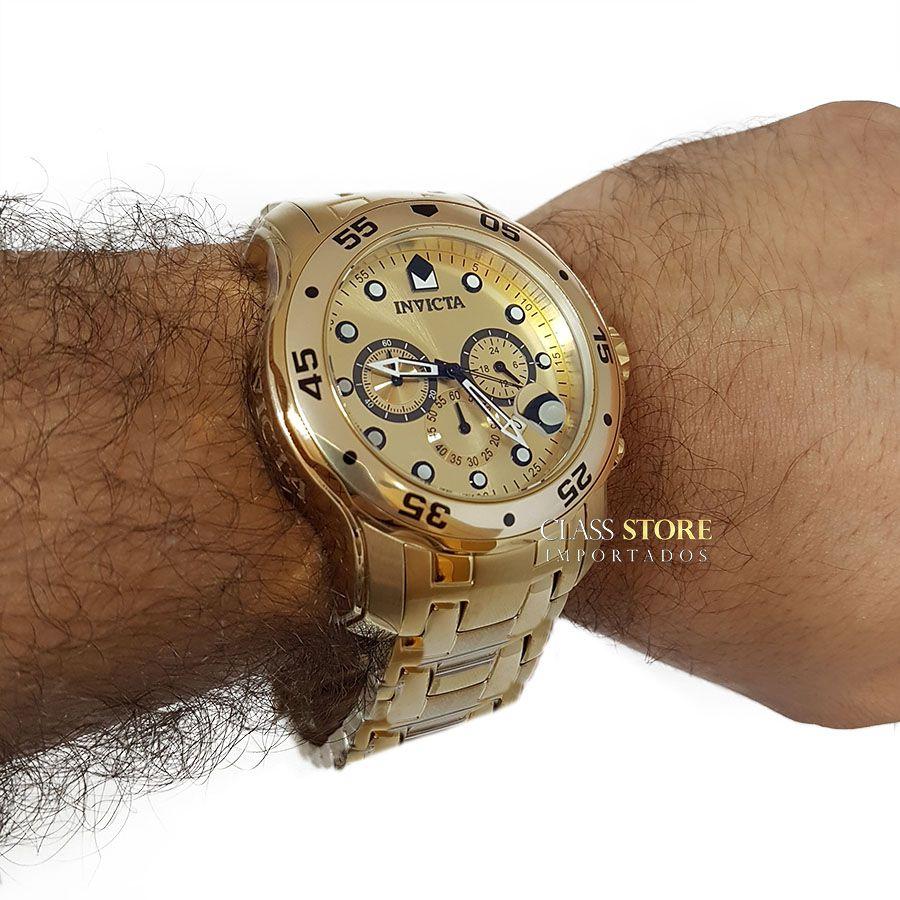 069058f6247 ... Relógio INVICTA Original Pro Diver 0074 Banhado a Ouro 18kt Cronógrafo  Mostrador Dourado - Imagem 7