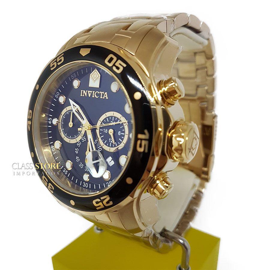 f448857d694 ... Relógio INVICTA Original Pro Diver 0072 Banhado a Ouro 18kt Cronógrafo  Mostrador Preto - Imagem 3 ...
