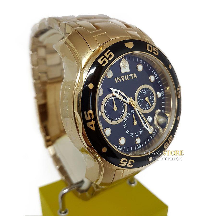 4c21e13ec0c ... Relógio INVICTA Original Pro Diver 0072 Banhado a Ouro 18kt Cronógrafo  Mostrador Preto - Imagem 4 ...