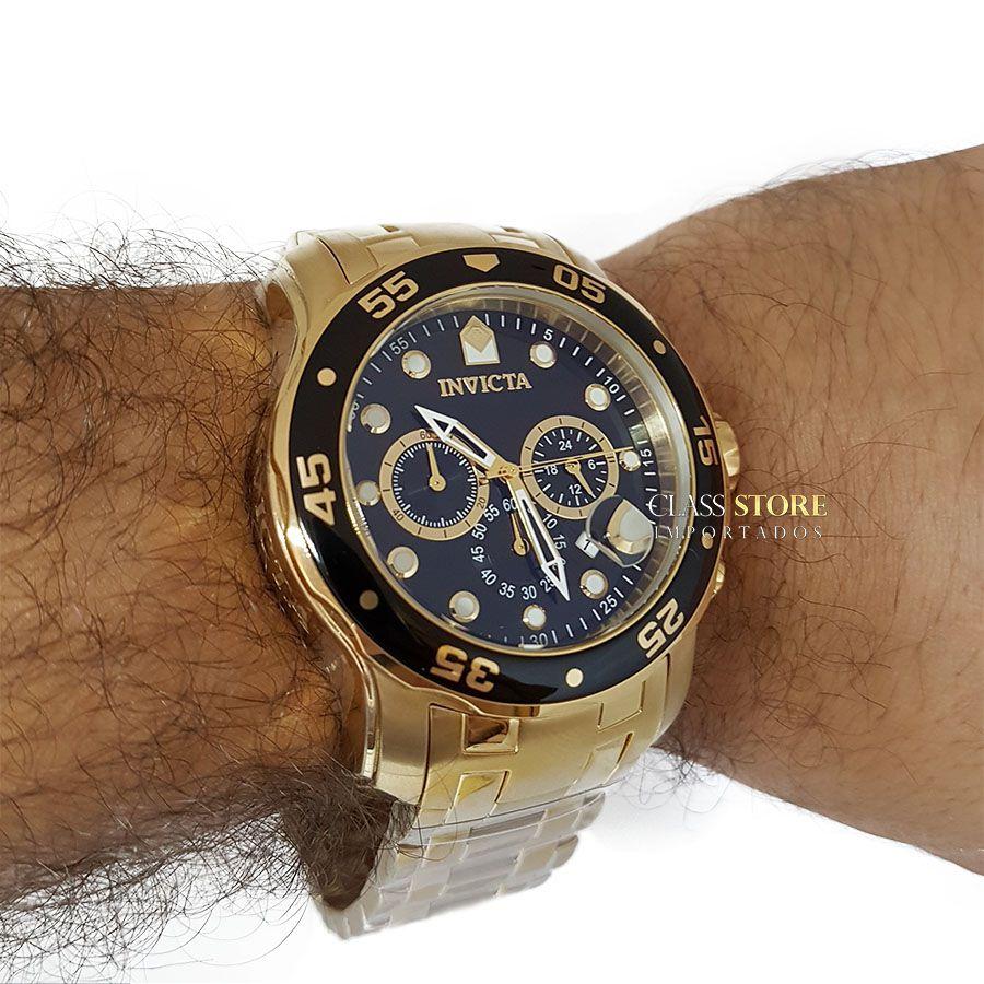 a8c539f5e88 ... Relógio INVICTA Original Pro Diver 0072 Banhado a Ouro 18kt Cronógrafo  Mostrador Preto - Imagem 6 ...