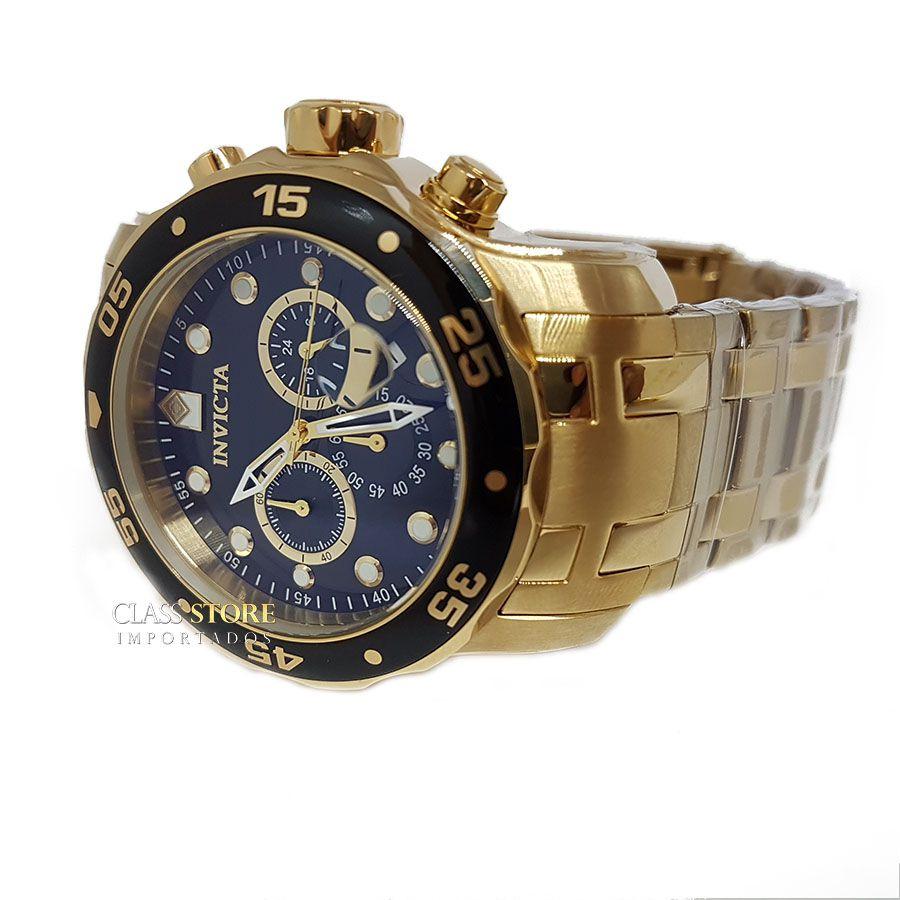 188f26b5277 ... Relógio INVICTA Original Pro Diver 0072 Banhado a Ouro 18kt Cronógrafo  Mostrador Preto - Imagem 5 ...