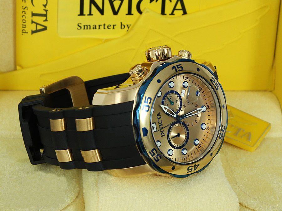d547988d646 ... Relógio INVICTA Original Pro Diver 17887 Banhado a Ouro 18kt Pulseira  em Borracha Cronógrafo Mostrador Dourado
