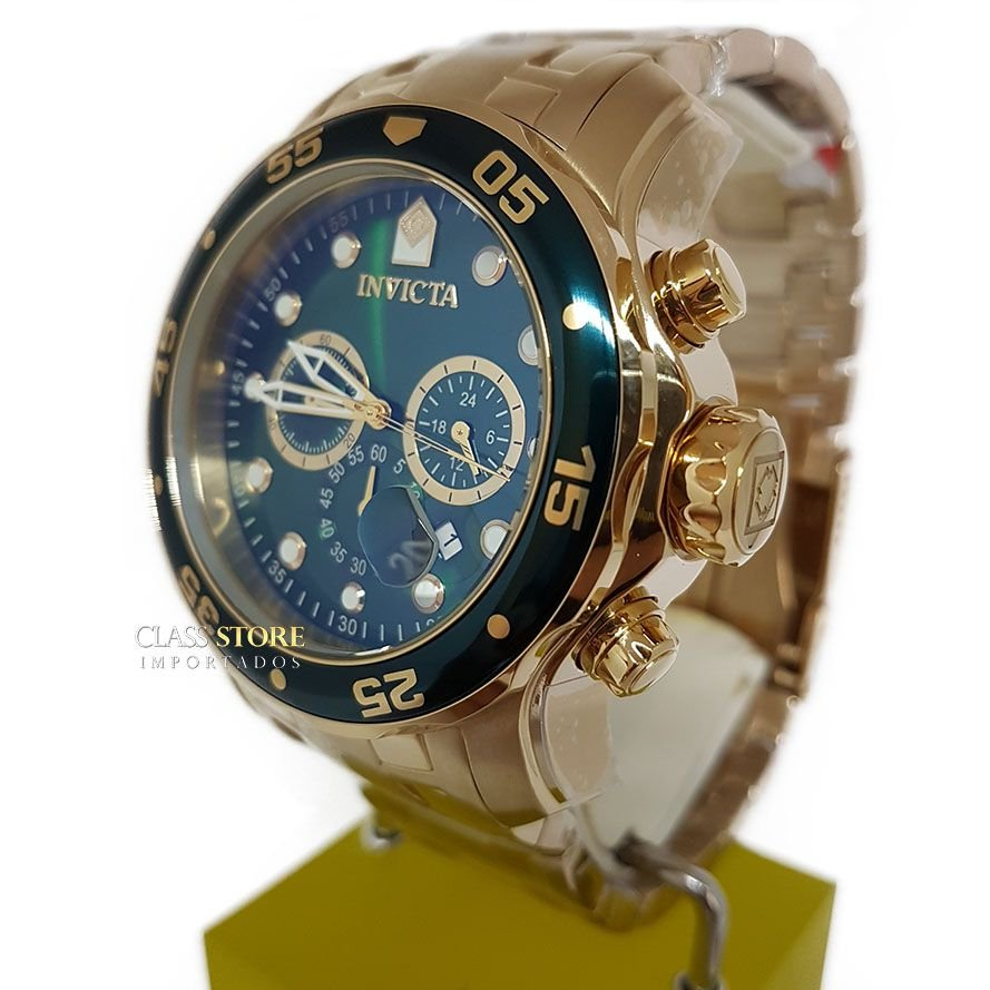 57ded0b0705 ... Relógio INVICTA Original Pro Diver 0075 Banhado a Ouro 18k Cronógrafo  Mostarador Verde - Imagem 4 ...