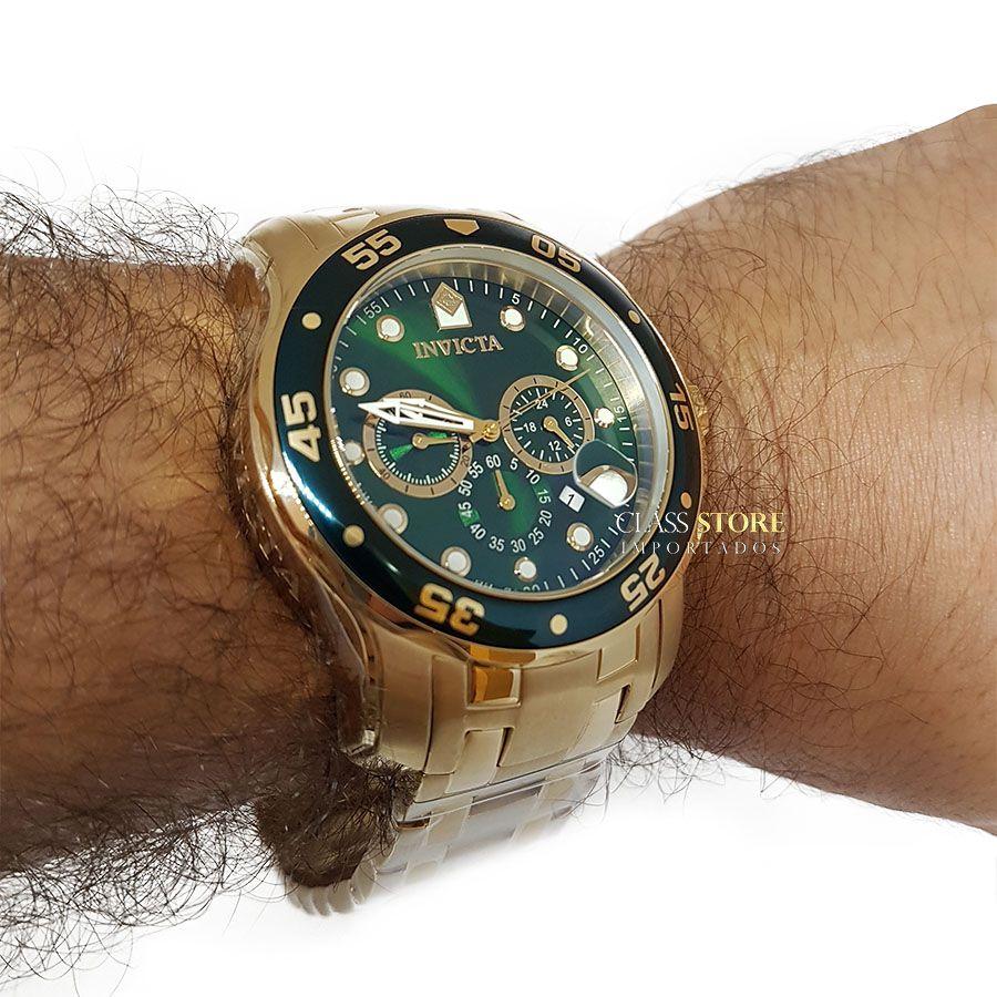 c6fe64a3ed1 ... Relógio INVICTA Original Pro Diver 0075 Banhado a Ouro 18k Cronógrafo  Mostarador Verde - Imagem 6 ...