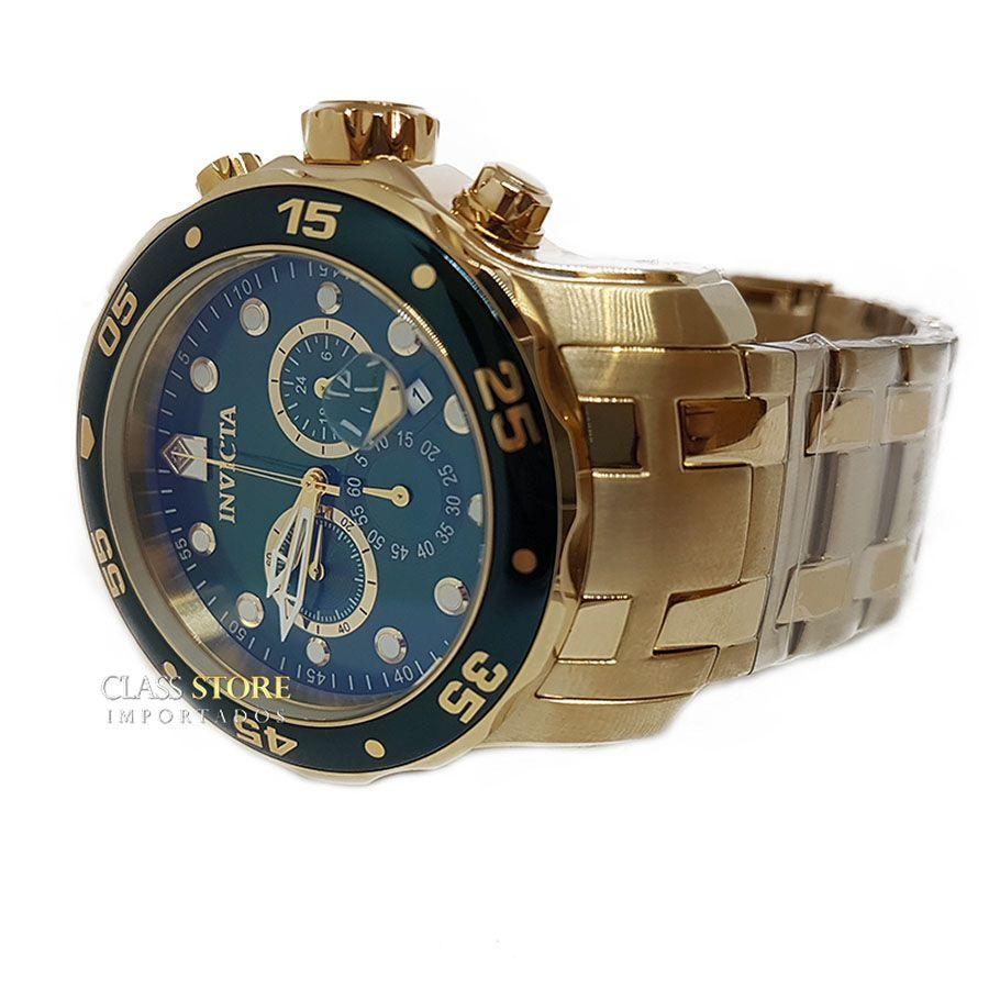 082abed0de3 ... Imagem 4  Relógio INVICTA Original Pro Diver 0075 Banhado a Ouro 18k  Cronógrafo Mostarador Verde - Imagem 5 ...