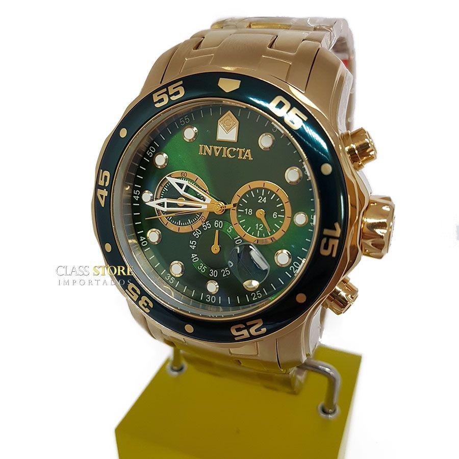 3d00d22691c ... Relógio INVICTA Original Pro Diver 0075 Banhado a Ouro 18k Cronógrafo  Mostarador Verde - Imagem 2 ...
