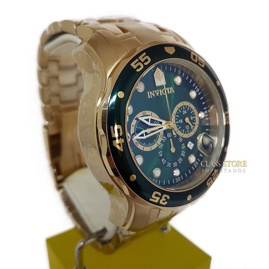 24a616f4e0e ... Relógio INVICTA Original Pro Diver 0075 Banhado a Ouro 18k Cronógrafo  Mostarador Verde - Imagem 3 ...