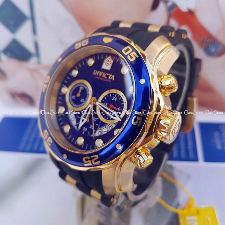 ed36d67da26 ... Relógio INVICTA Original Pro Diver 6983 Banhado a Ouro 18kt Pulseira em  Borracha Cronógrafo Mostrador Azul ...