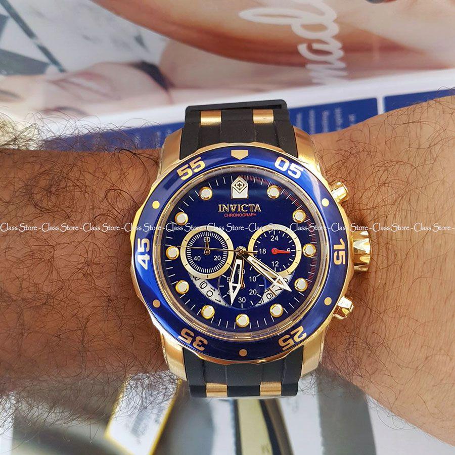 108bdfb7985 ... Relógio INVICTA Original Pro Diver 6983 Banhado a Ouro 18kt Pulseira em  Borracha Cronógrafo Mostrador Azul