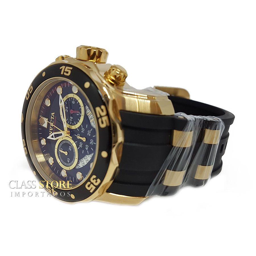 dc03e7f4a2b ... Relógio INVICTA Original Pro Diver 6981 Banhado a Ouro 18kt Pulseira em  Borracha Cronógrafo Mostrador Preto ...