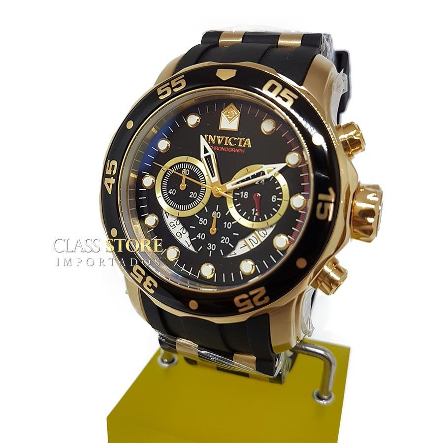 fa50c27f701 ... Relógio INVICTA Original Pro Diver 6981 Banhado a Ouro 18kt Pulseira em  Borracha Cronógrafo Mostrador Preto ...
