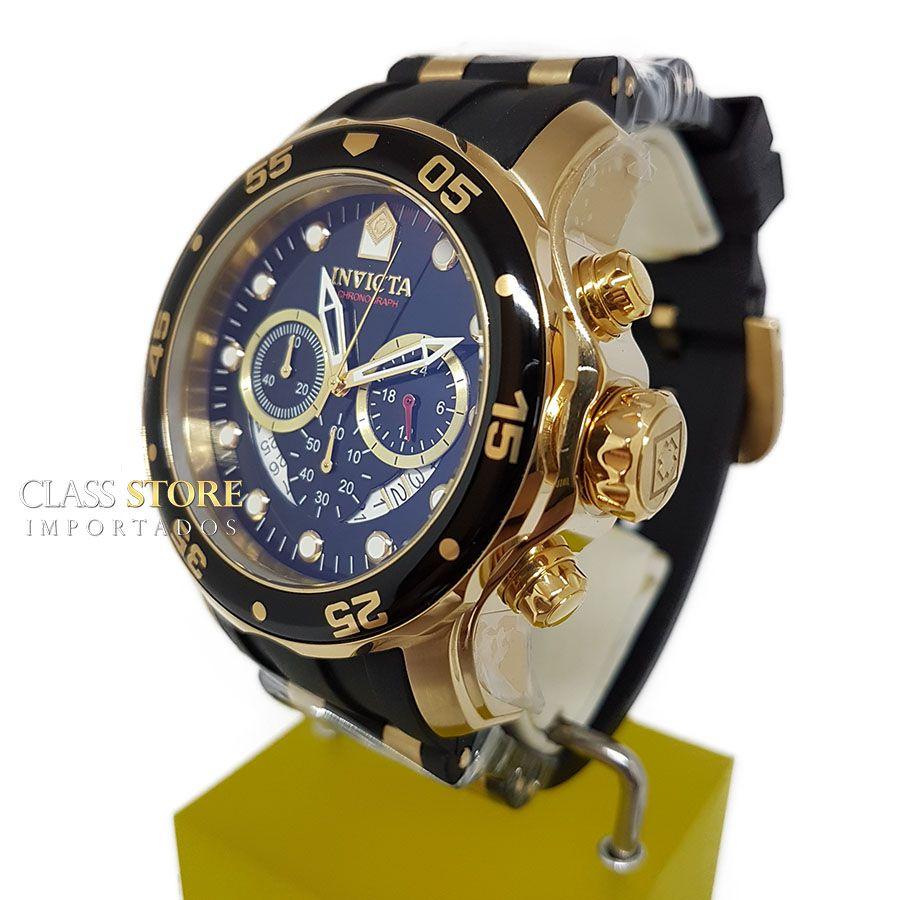 606ab3c76bb ... Relógio INVICTA Original Pro Diver 6981 Banhado a Ouro 18kt Pulseira em  Borracha Cronógrafo Mostrador Preto ...