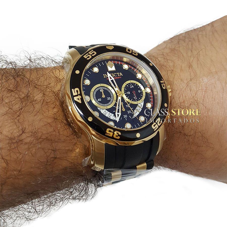 d8e480c1615 ... Relógio INVICTA Original Pro Diver 6981 Banhado a Ouro 18kt Pulseira em  Borracha Cronógrafo Mostrador Preto