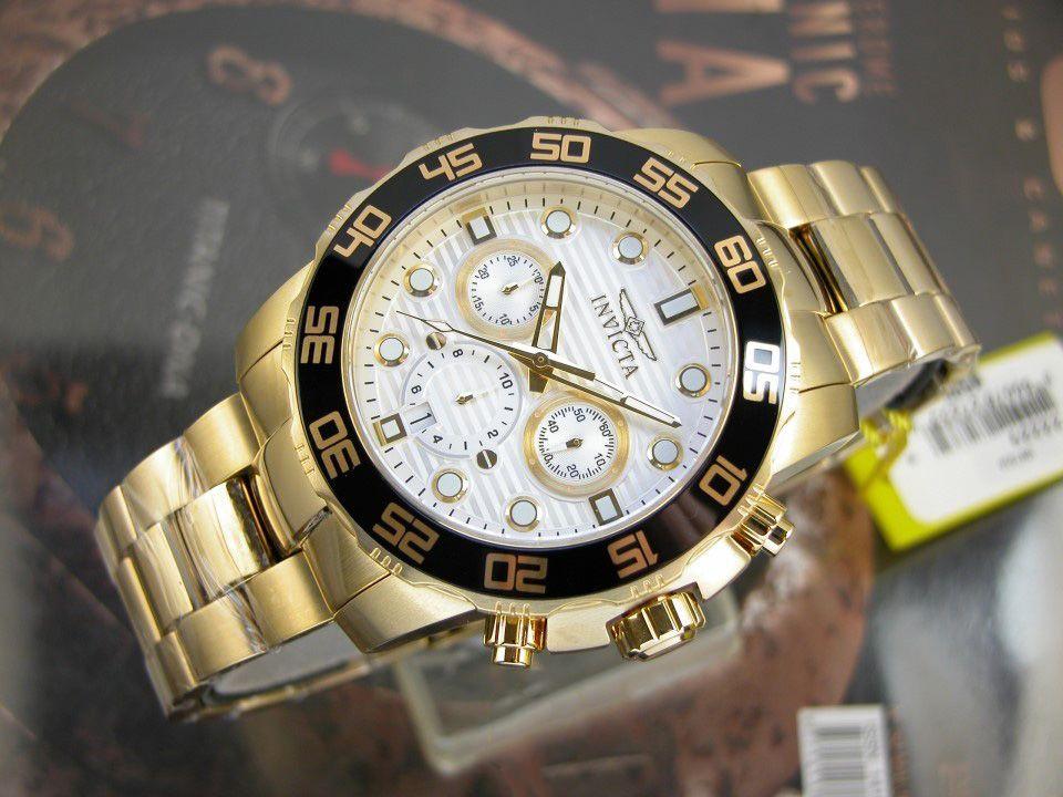 ac1a2ca0f2b ... Relógio INVICTA Pro Diver 22229 Original Banhado a Ouro 18k Mostrador  Branco Cronógrafo Lançamento - Imagem ...