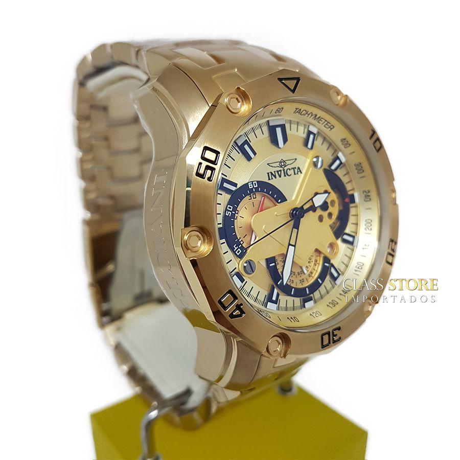 6acf528cbd5 ... Lançamento Relógio INVICTA Pro Diver 22761 Banhado a Ouro 18k  Cronógrafo - Imagem 3 ...