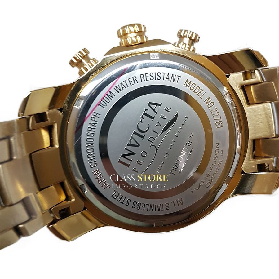 7316e75ed6d ... Lançamento Relógio INVICTA Pro Diver 22761 Banhado a Ouro 18k Cronógrafo  - Imagem 7