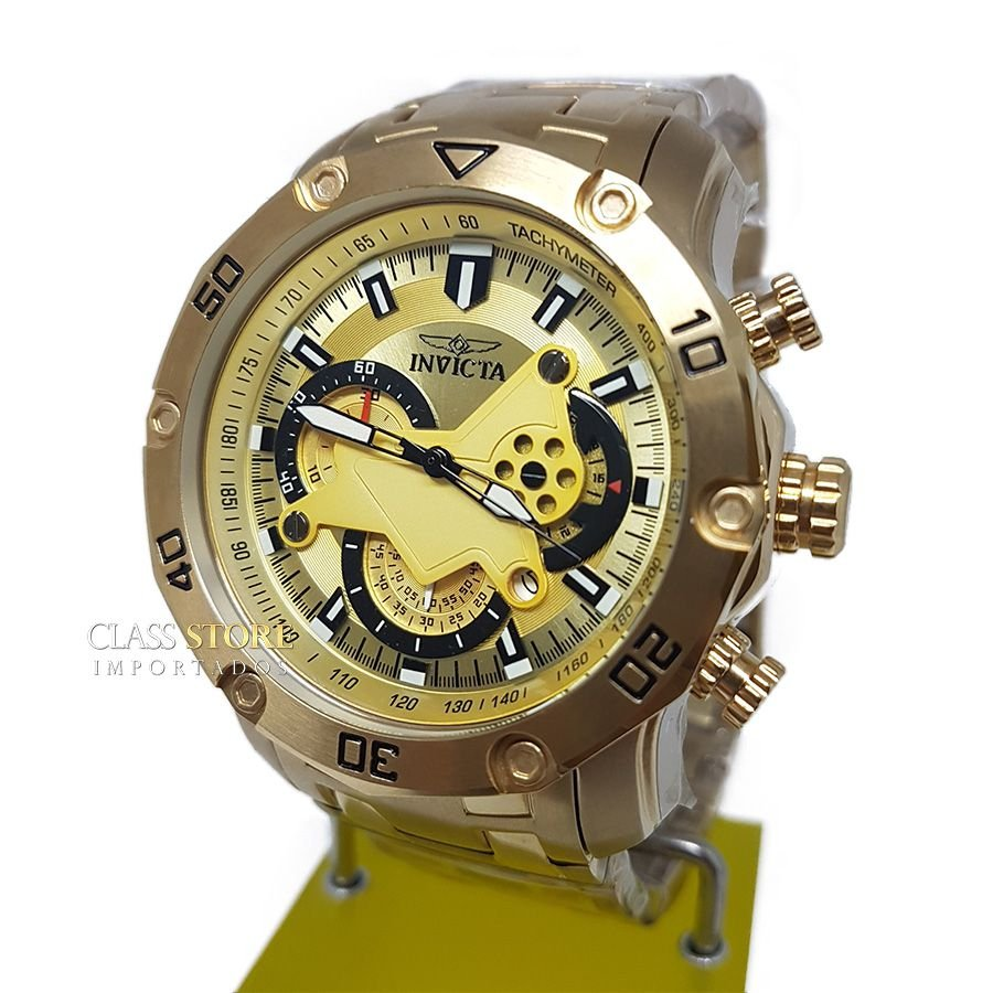 cbfe3044ef5 ... Lançamento Relógio INVICTA Pro Diver 22761 Banhado a Ouro 18k Cronógrafo  - Imagem 2 ...