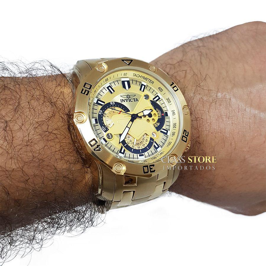 51c754572ba ... Lançamento Relógio INVICTA Pro Diver 22761 Banhado a Ouro 18k Cronógrafo  - Imagem 6 ...