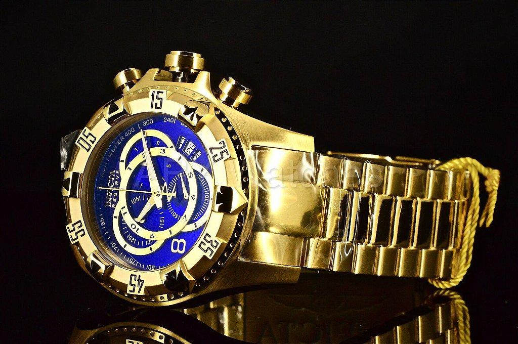 fd51b613156 ... Relógio INVICTA Original Excursion Reserve 6469 Banhado a Ouro 18k  Cronógrafo Azul Suíço - Imagem 5 ...