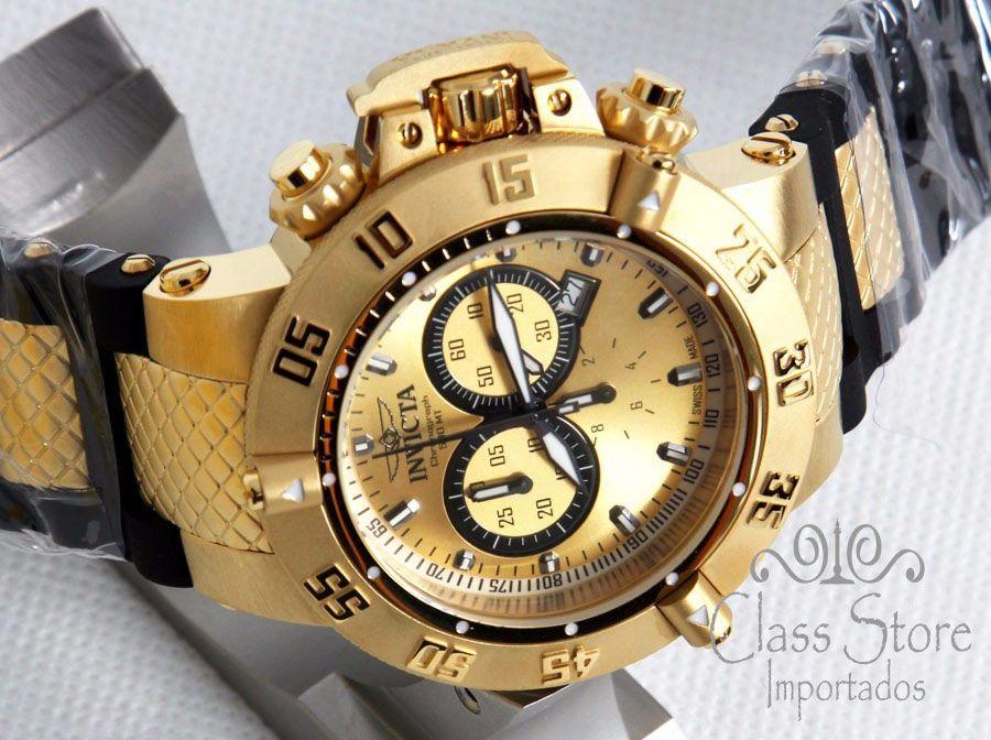 357930f5647 ... Relógio Invicta Subaqua Noma 5517 Banhado Ouro 18k Original Cronógrafo  Suíço - Imagem 4