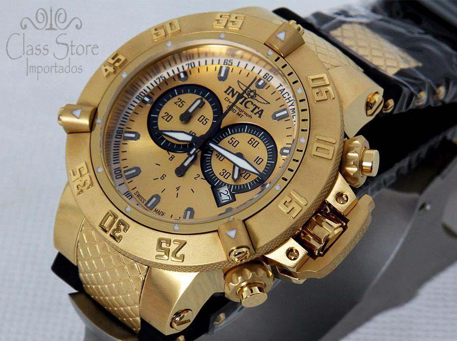 e75f96d05c8 ... Relógio Invicta Subaqua Noma 5517 Banhado Ouro 18k Original Cronógrafo  Suíço - Imagem 2 ...