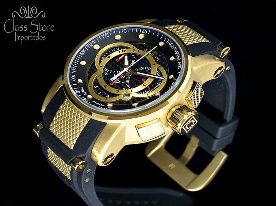7695f7464e1 ... Relógio INVICTA original S1 Rally 0896 banhado a ouro Cronógrafo Preto  Suíço - Imagem 2 ...