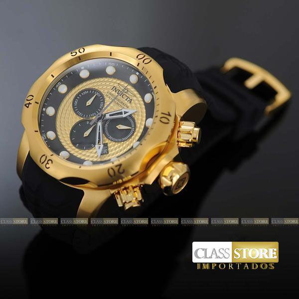 788649a03ae ... Relógio INVICTA Venom 20443 Suíço Pulseira em Borracha Banhado a Ouro  18k Cronógrafo Original - Imagem ...