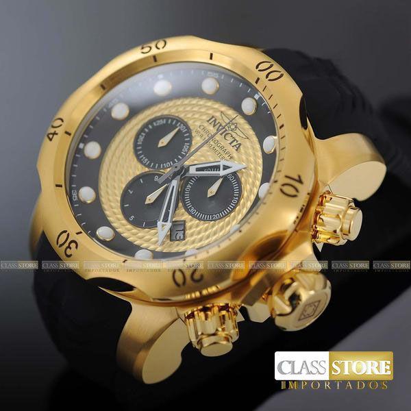 d02b3fa920c ... Relógio INVICTA Venom 20443 Suíço Pulseira em Borracha Banhado a Ouro  18k Cronógrafo Original - Imagem ...