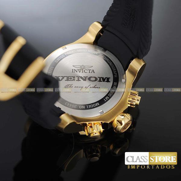 c2c6c862dc5 ... Relógio INVICTA Venom 20443 Suíço Pulseira em Borracha Banhado a Ouro  18k Cronógrafo Original - Imagem