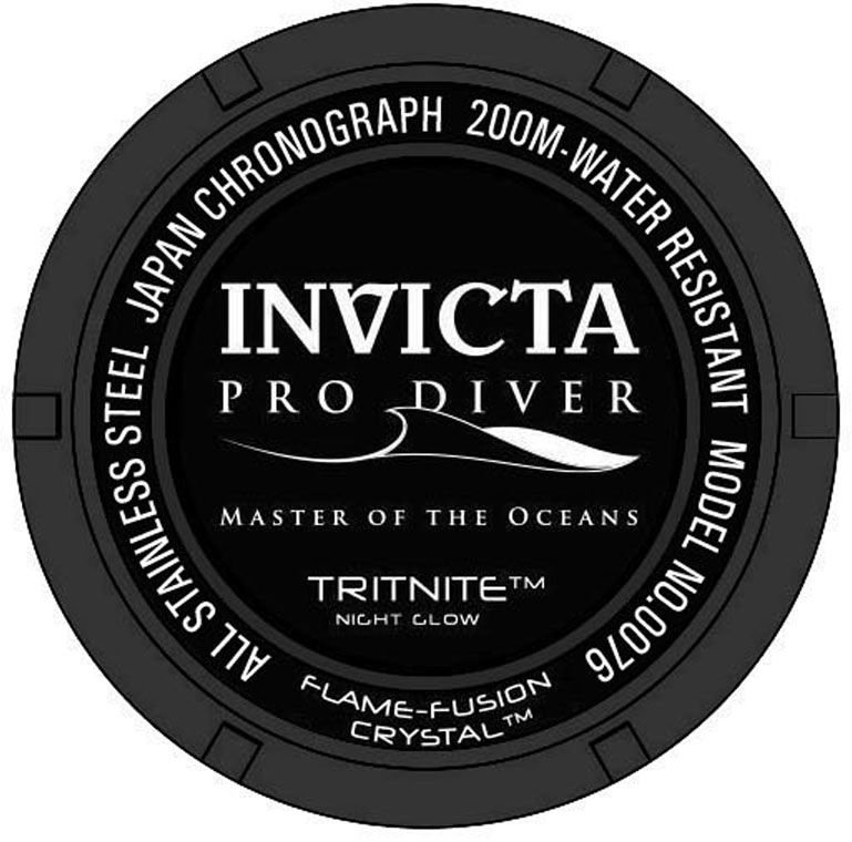 86c57df3260 ... Relógio INVICTA 0076 Pro Diver Aço Inox Preto Cronógrafo Mostrador Preto  - Imagem 2 ...