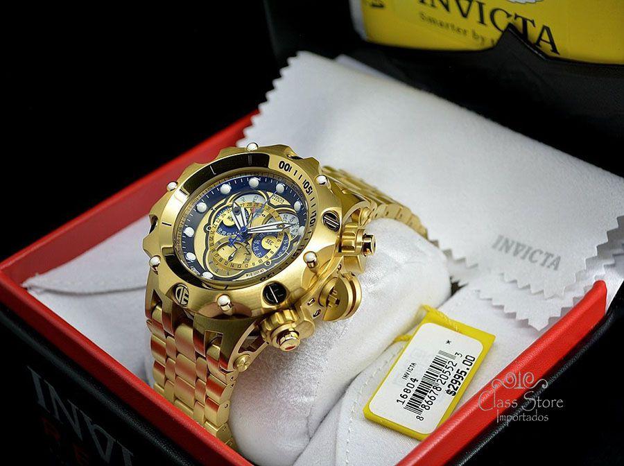 67a85eb930a ... Relógio Invicta Reserve Venom 16804 Hybrid banhado a Ouro 18k Suíço  Cronógrafo Calendário Triplo - Imagem ...