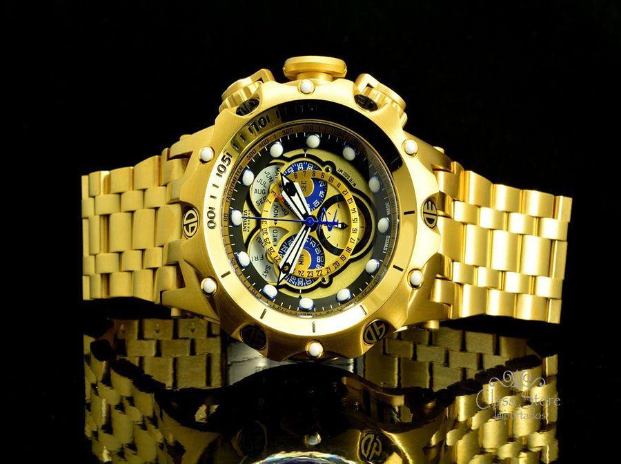 bfca3132a7d ... Relógio Invicta Reserve Venom 16804 Hybrid banhado a Ouro 18k Suíço  Cronógrafo Calendário Triplo - Imagem ...