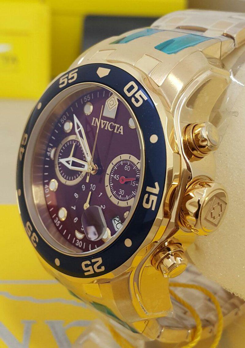 4265344efa2 ... Relógio INVICTA Original Pro Diver 80066 Banhado a Ouro 18k Cronógrafo  Mostrador Vermelho Vinho - Imagem ...